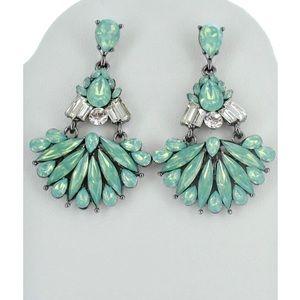 Mint green & silver earrings